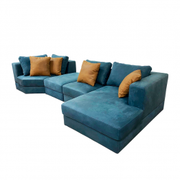 Sofá modular, composto por 4 módulos, sendo um deles chaise longue.
