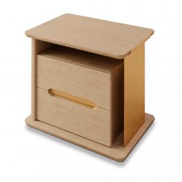 Mesa de cabeceira com duas gavetas, com detalhes em metal dourado