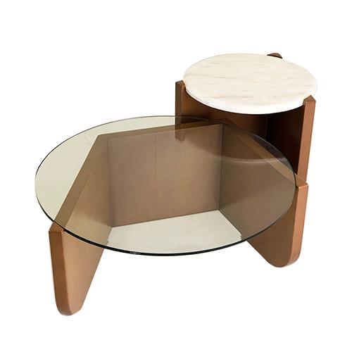 Mesa de centro com base em pedra, mesa de centro com base em vidro